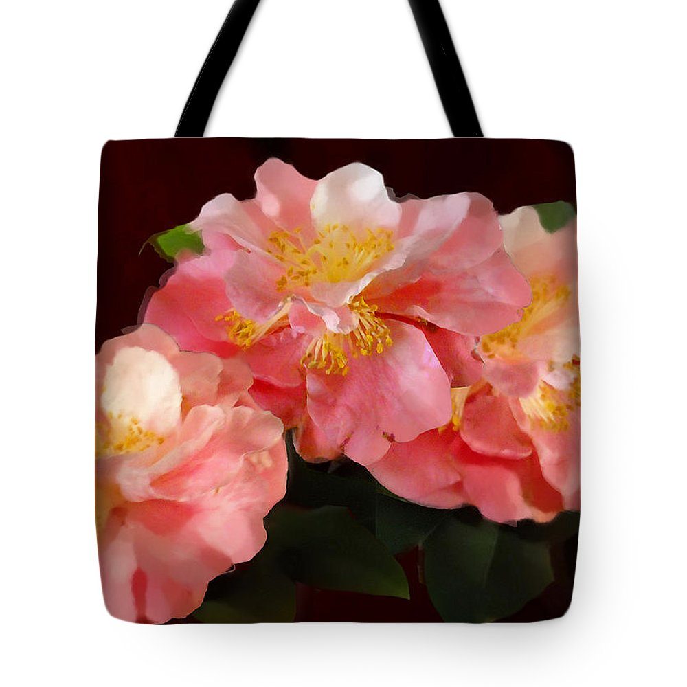 Fine Art Tote Bag featuring the painting Camellias 1cmods1b Digital Painting Gulf Coast Florida by G Linsenmayer