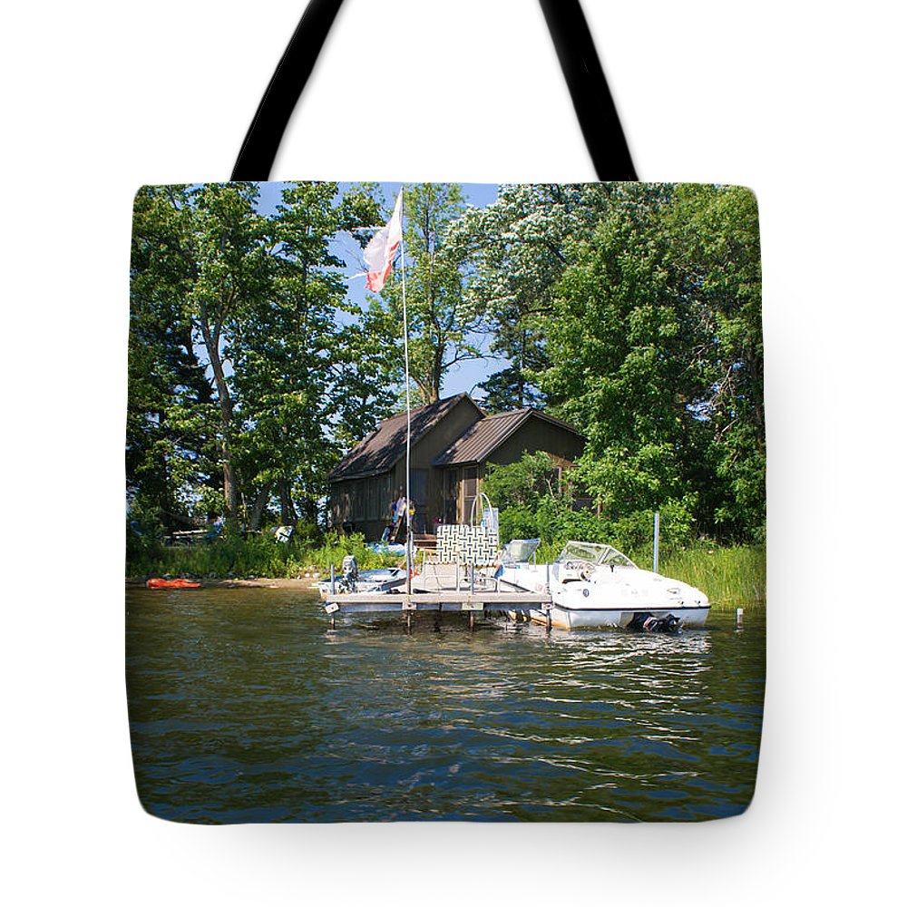 Borden Lake Tote Bag featuring the photograph Camelot Island by Gary Eason