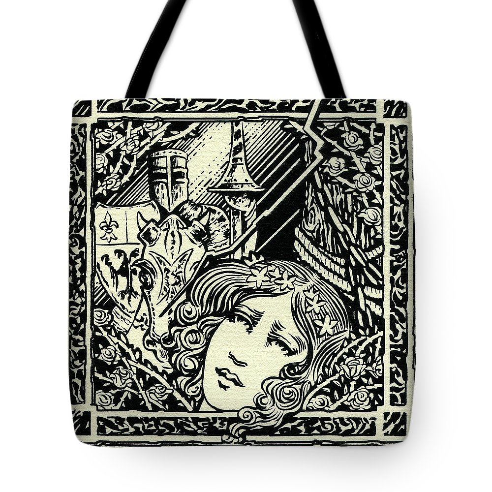 Camelot Tote Bag featuring the drawing Lancelot And Guinevere by Lance Miyamoto