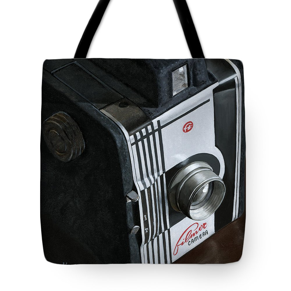Stillife Tote Bag featuring the painting Camera by Rob De Vries