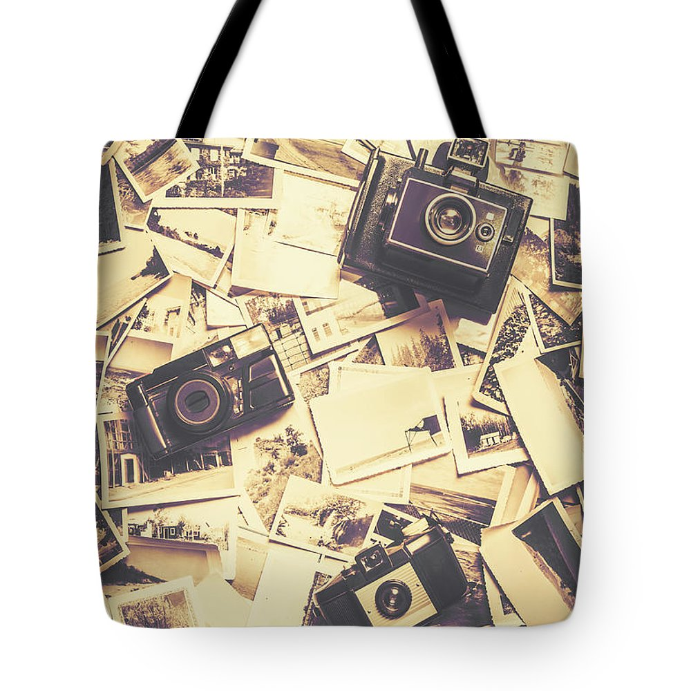 Nostalgia Tote Bag featuring the photograph Cameras On A Visual Storyboard by Jorgo Photography - Wall Art Gallery