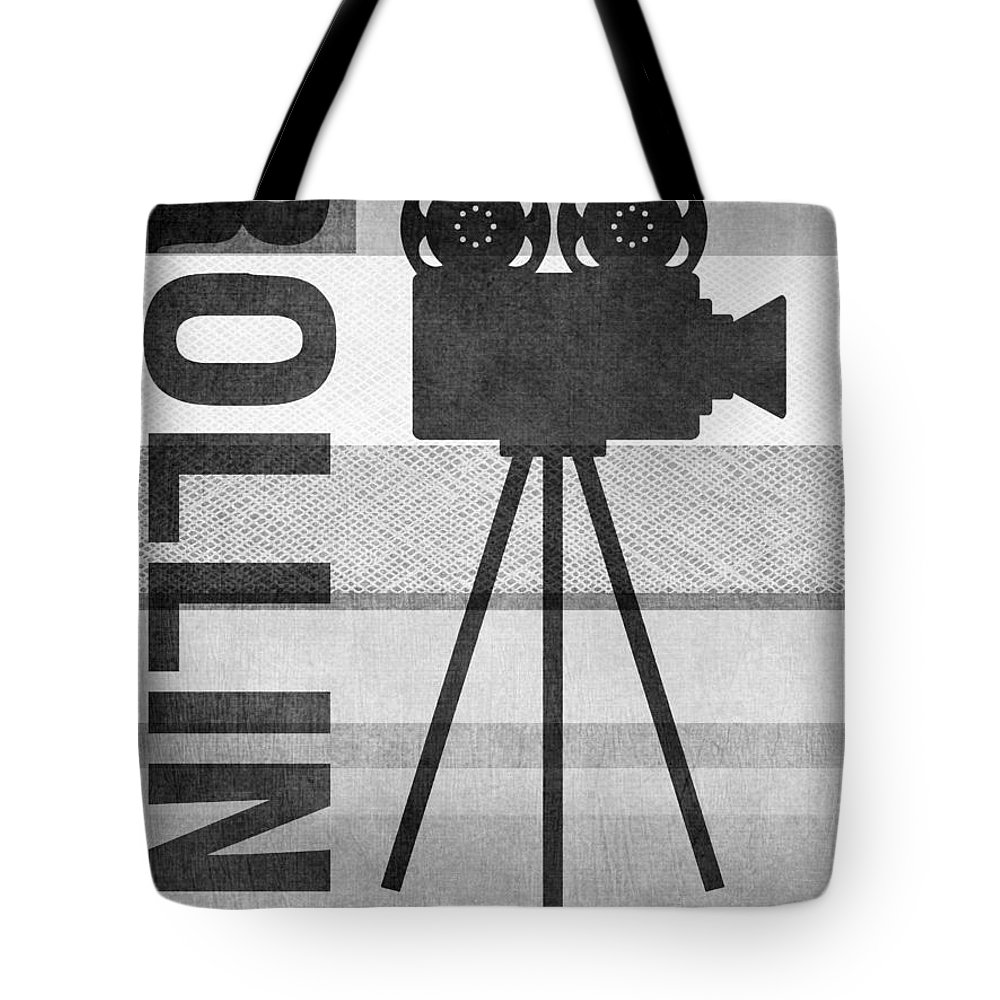 Movie Tote Bag featuring the mixed media Cameras Rolling- Art By Linda Woods by Linda Woods