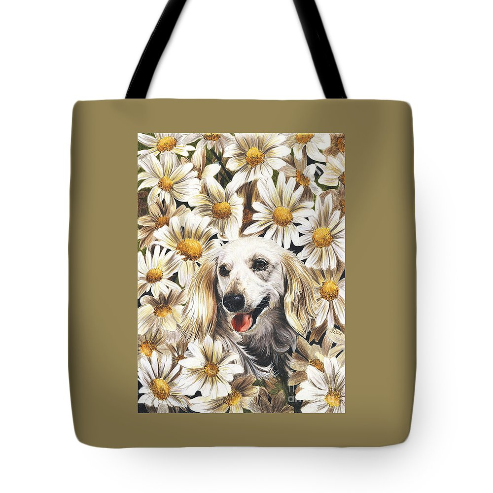 Dachshund Tote Bag featuring the drawing Camoflaged by Barbara Keith