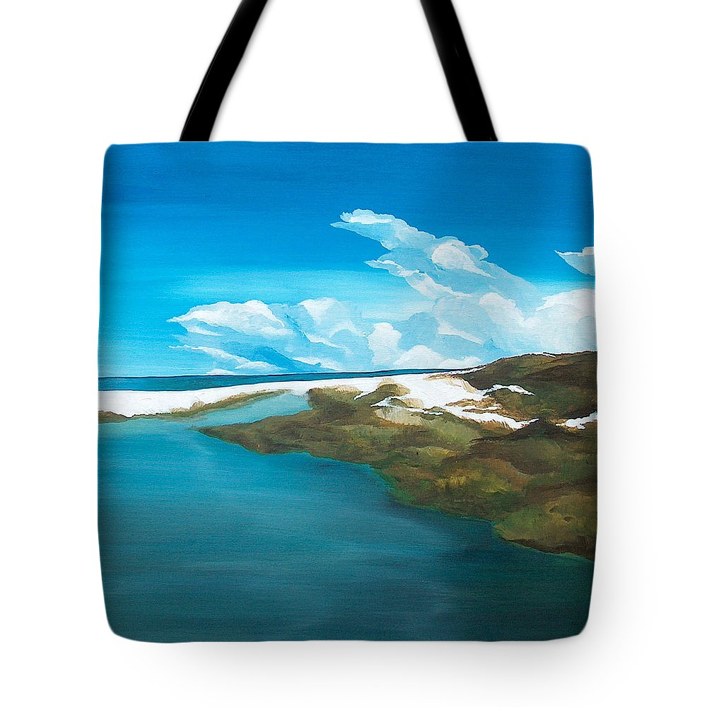 Beach Tote Bag featuring the painting Camp Creek by Racquel Morgan