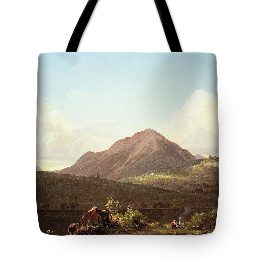 Camp Fire In The Maine Wilderness (oil On Canvas) By Frederic Edwin Church (1826-1900) Tote Bag featuring the painting Camp Fire In The Maine Wilderness by Frederic Edwin Church
