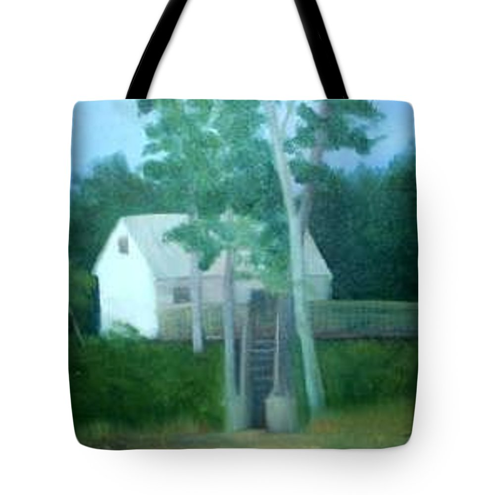 Trees Tote Bag featuring the painting Camp by Sheila Mashaw