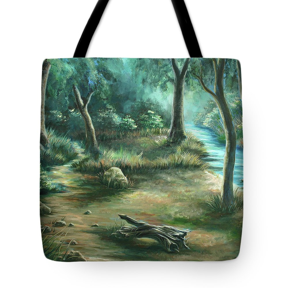 Landscape Tote Bag featuring the painting Camping At Figueroa Mountains by Jennifer McDuffie
