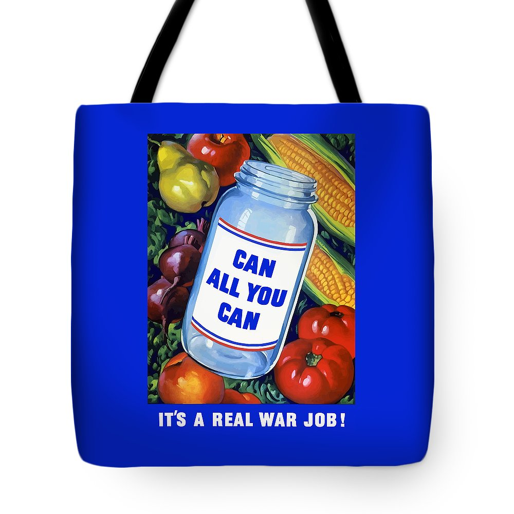 Canned Food Tote Bag featuring the painting Can All You Can -- Ww2 by War Is Hell Store