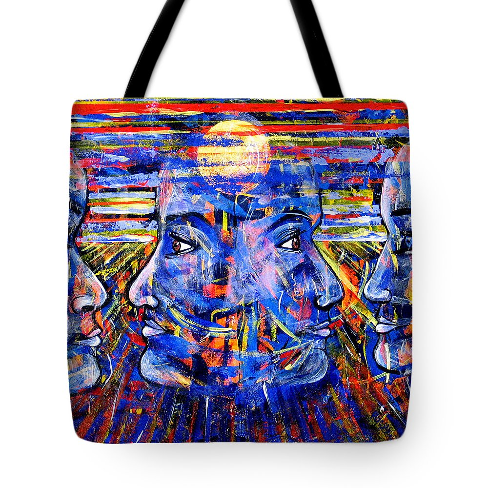 Confrontation Tote Bag featuring the painting Can Not Live A Lie by Rollin Kocsis
