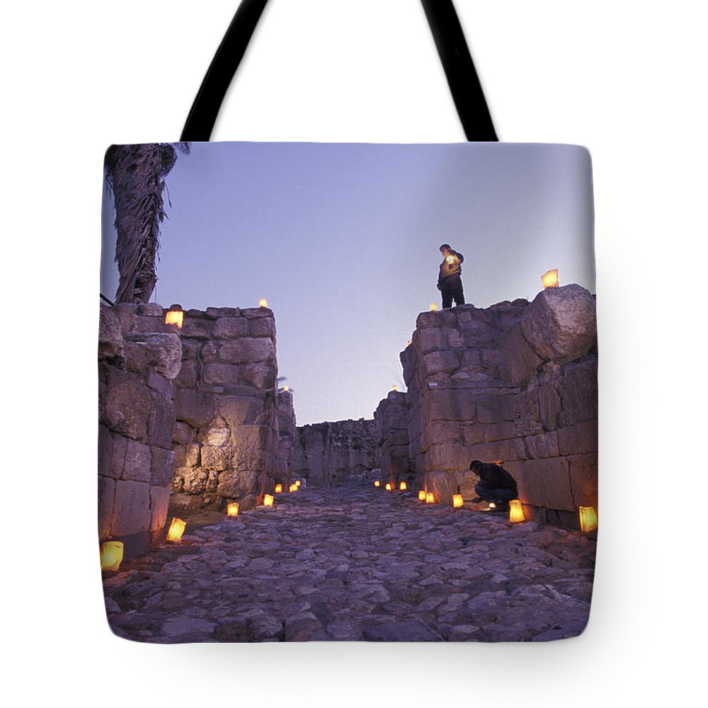 Stone Tote Bag featuring the photograph Canaanite Entrance Gate To El Megiddo by Richard Nowitz