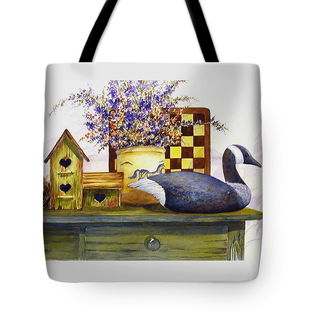 Canada Goose;birdhouse;bird Nest;crock;checkerboard;still Life;country Still Life; Tote Bag featuring the painting Canada And Checkerboard by Lois Mountz