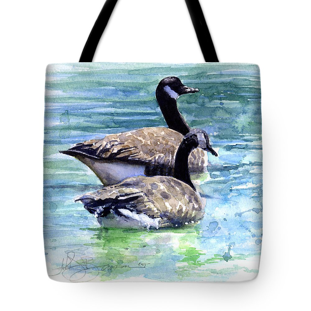 Canada Tote Bag featuring the painting Canada Geese by John D Benson