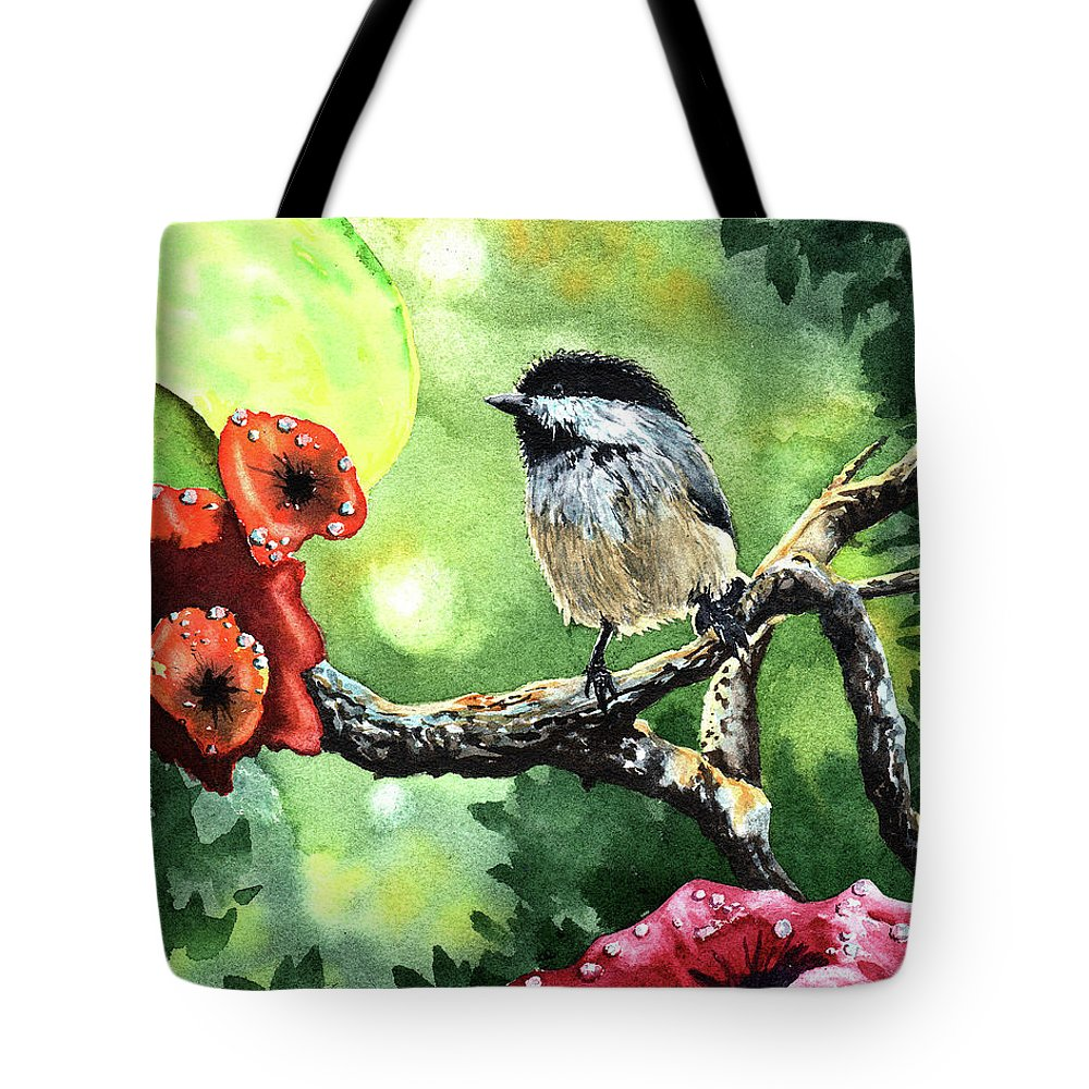 Morning Tote Bag featuring the painting Canadian Chickadee by Timithy L Gordon