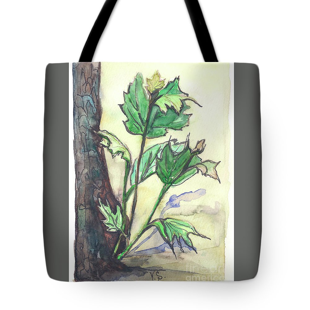 Canadian Tote Bag featuring the painting Canadian Maple by Yana Sadykova