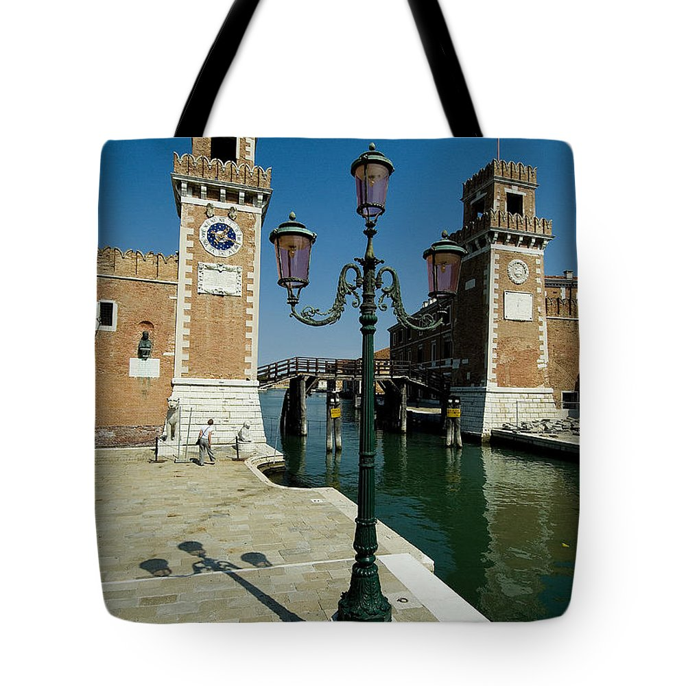 Photography Tote Bag featuring the photograph Canal Leading Into The Arsenale by Todd Gipstein