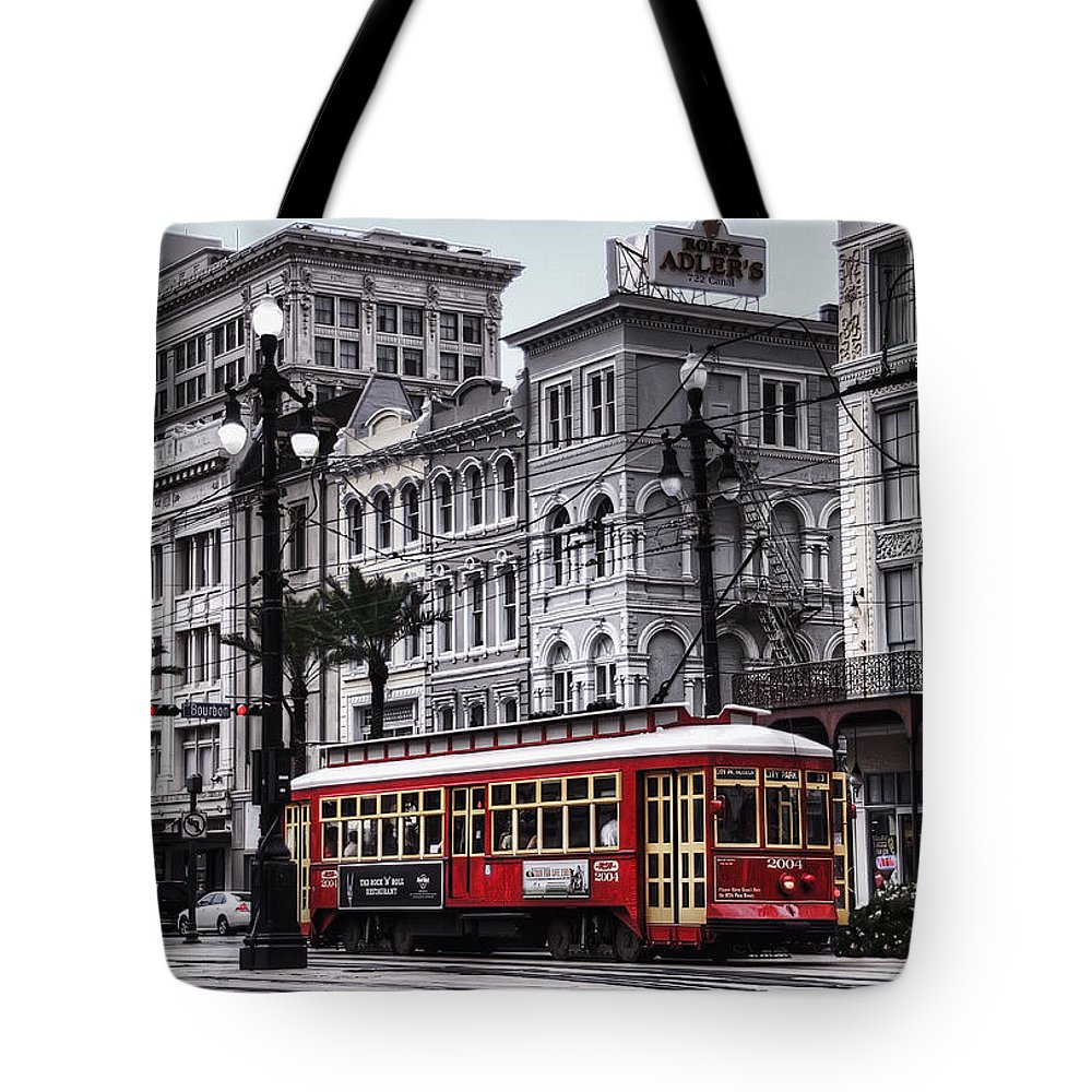 Nola Tote Bag featuring the photograph Canal Street Trolley by Tammy Wetzel