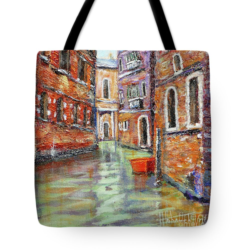 Art Tote Bag featuring the painting Canale Veneziano by Mohamed Hirji