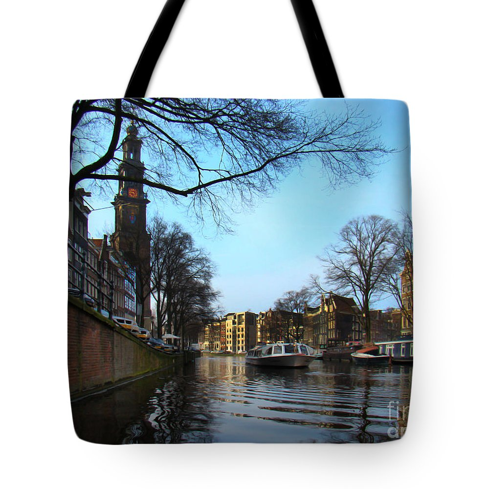 Amsterdam Tote Bag featuring the photograph Canals Of Amsterdam IIi by Al Bourassa