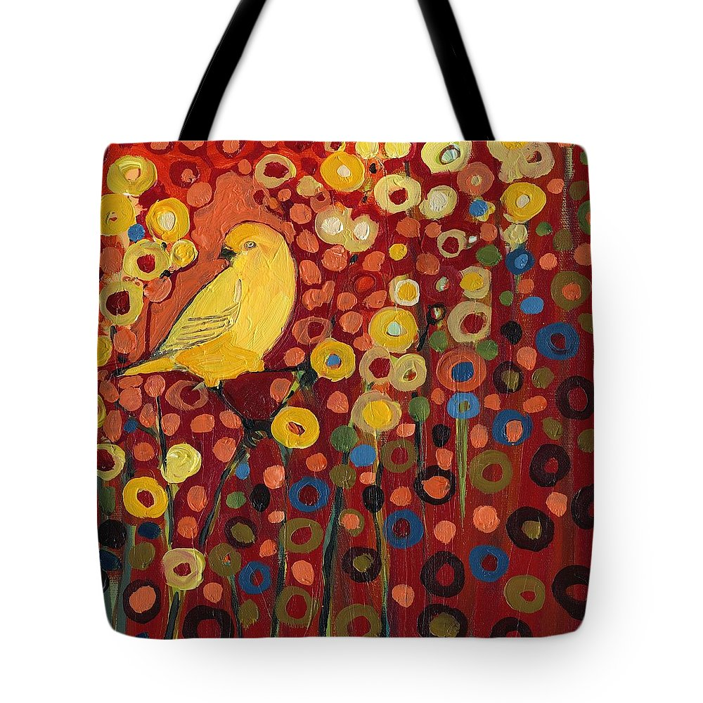 Canary Tote Bag featuring the painting Canary in Red by Jennifer Lommers