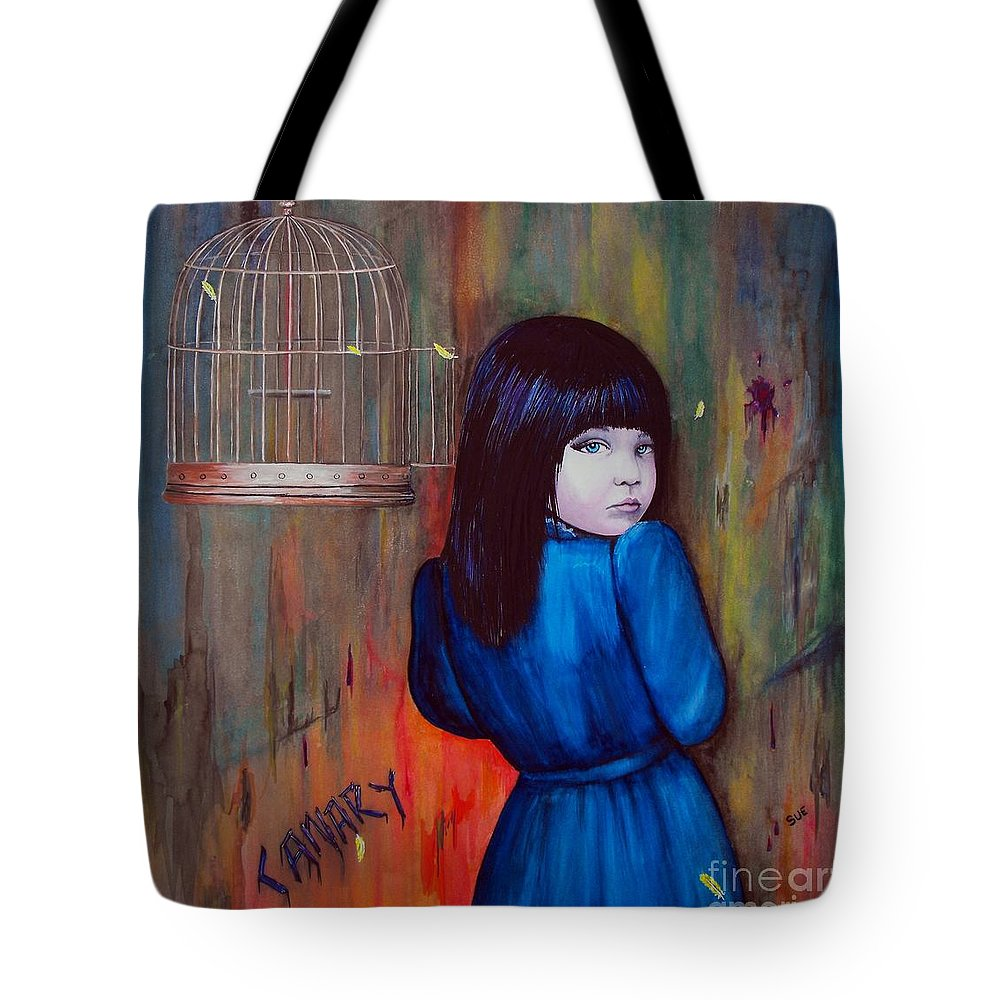 Bird Tote Bag featuring the painting Canary by Suzanne Buttle