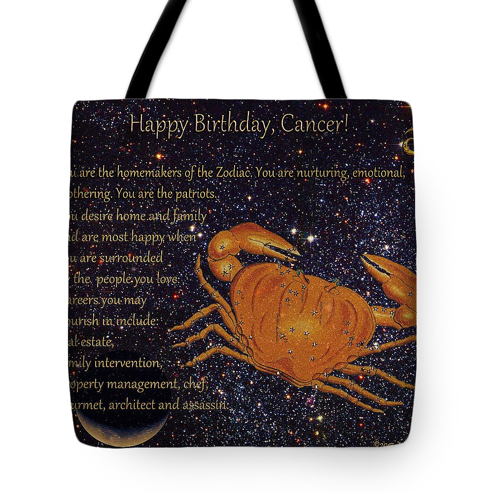 1ecc8d71fe4 Cancer Tote Bag featuring the mixed media Cancer Birthday Zodiac Astrology  by Michele Avanti