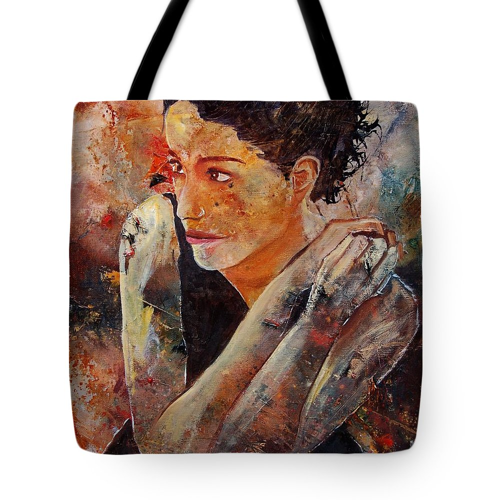 Figurative Tote Bag featuring the painting Candid Eyes by Pol Ledent
