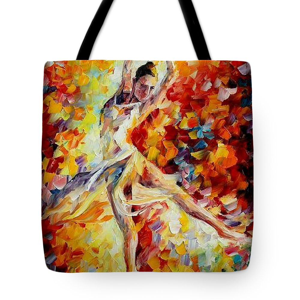 Danse Tote Bag featuring the painting Candle Fire by Leonid Afremov