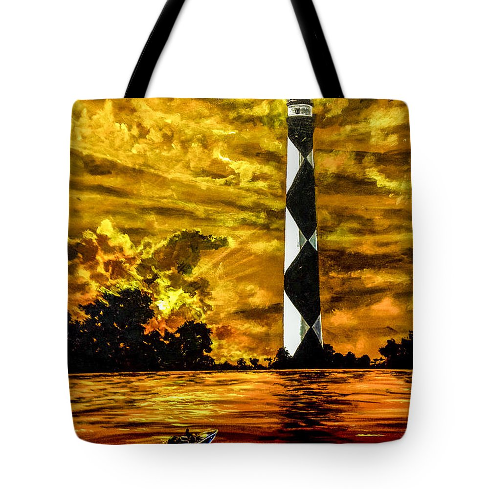 Landscape Tote Bag featuring the painting Candle On The Water by Joel Tesch