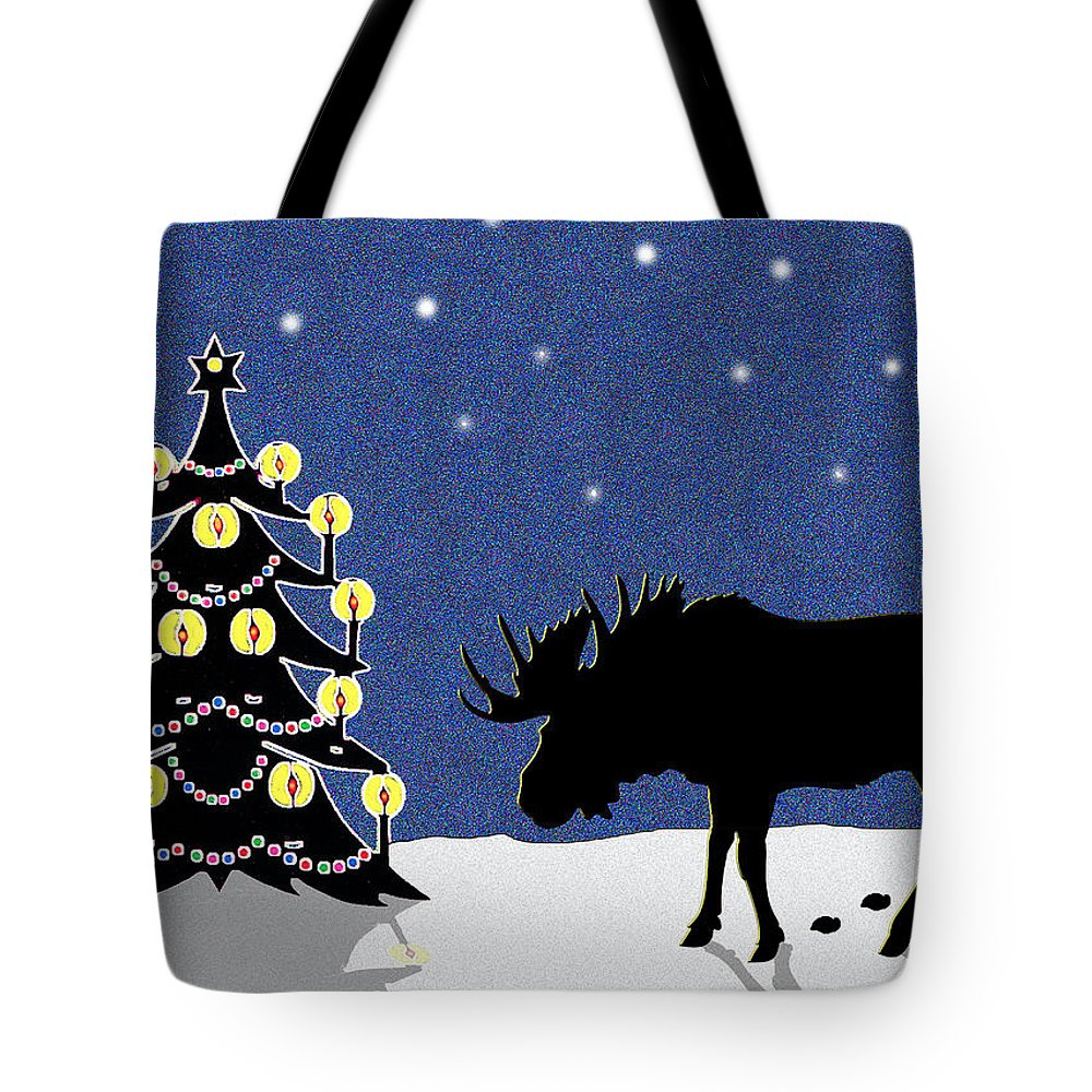 Moose Tote Bag featuring the digital art Candlelit Christmas Tree And Moose In The Snow by Nancy Mueller