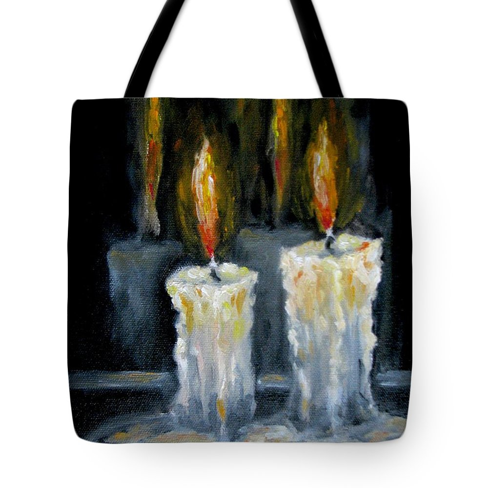 Candles Tote Bag featuring the painting Candles Oil Painting by Natalja Picugina