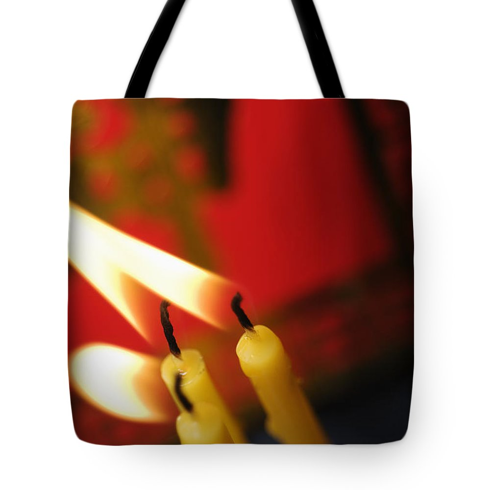 Adorn Tote Bag featuring the photograph Candles by Ray Laskowitz - Printscapes