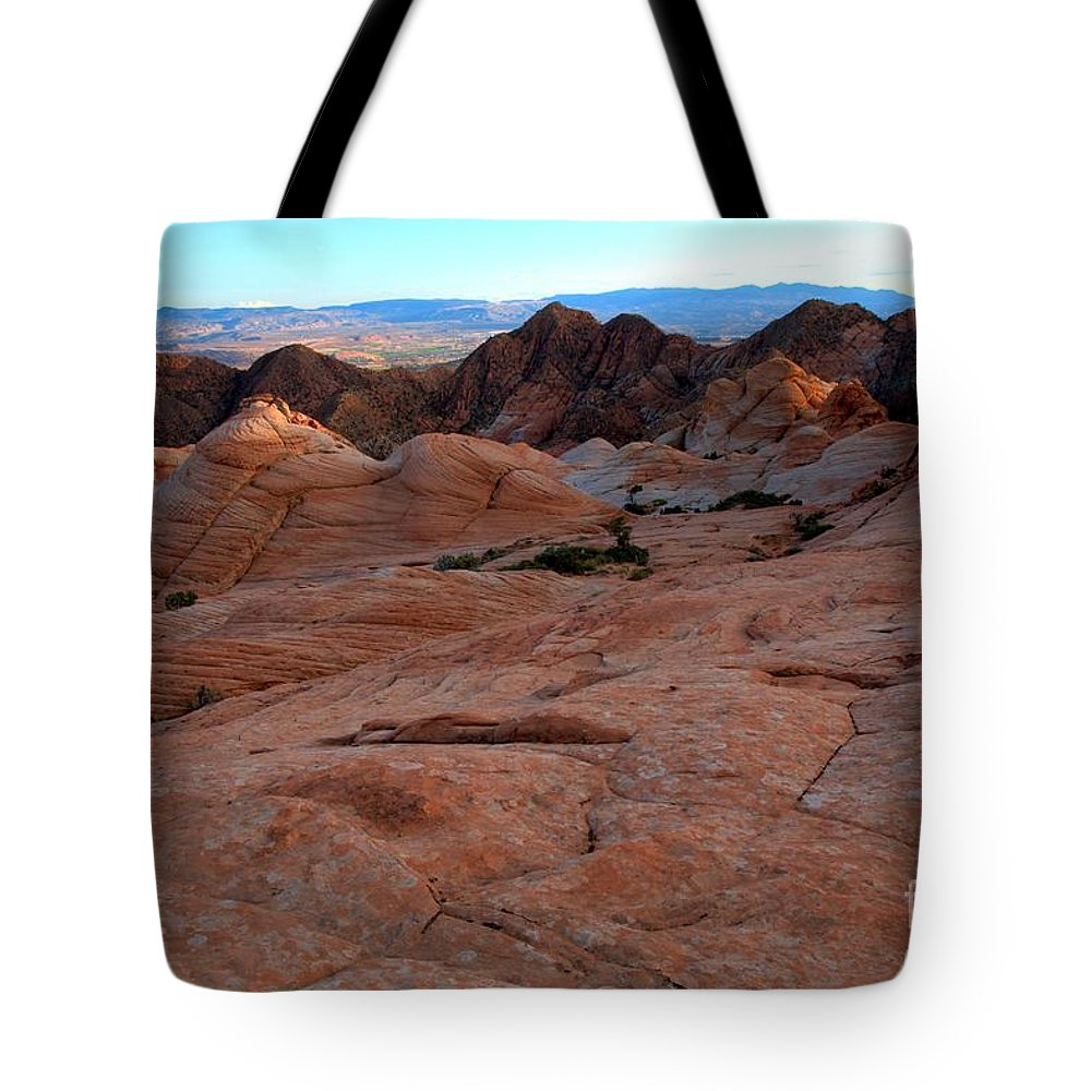Yant Flat Tote Bag featuring the photograph Candy Cliffs Sunset by Adam Jewell