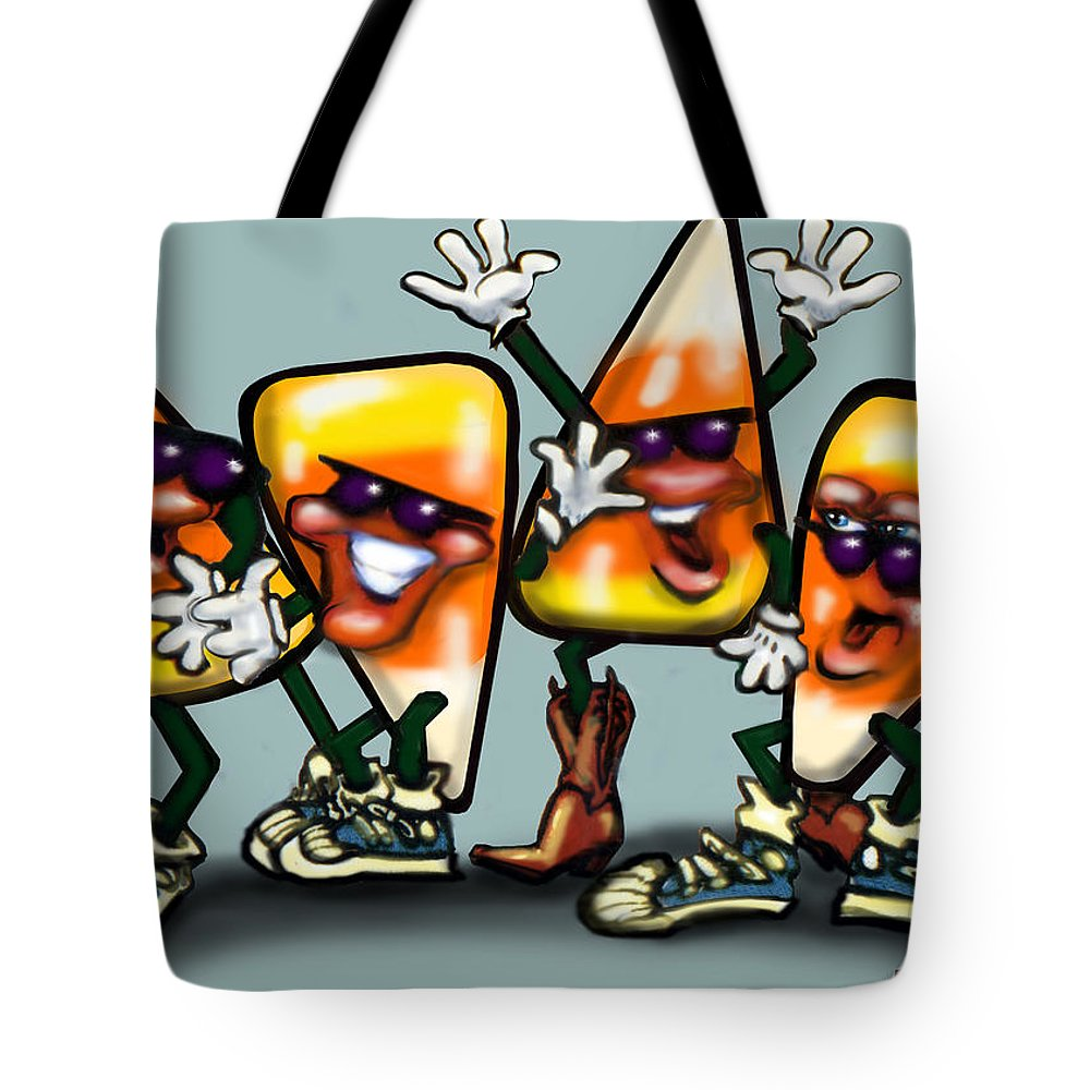 Candy Tote Bag featuring the digital art Candy Corn Gang by Kevin Middleton