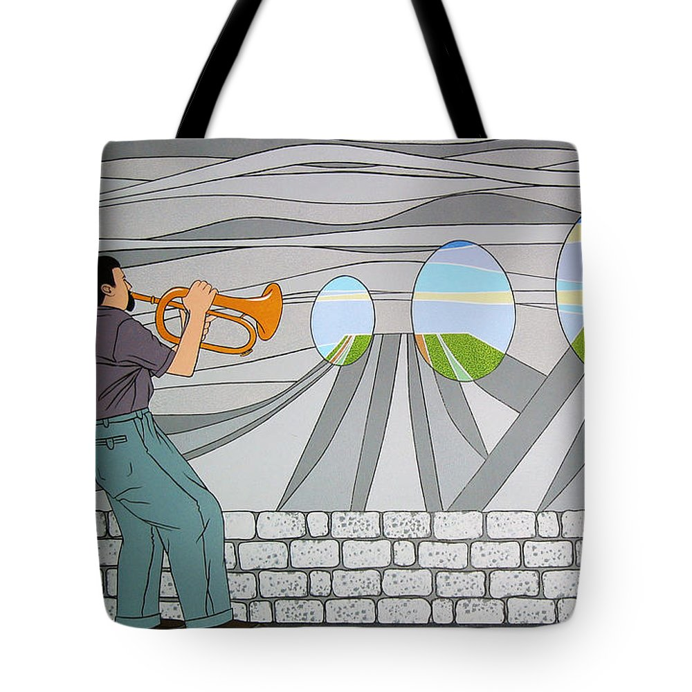 Trumpet Tote Bag featuring the painting Candy Lips by Patricia Van Lubeck