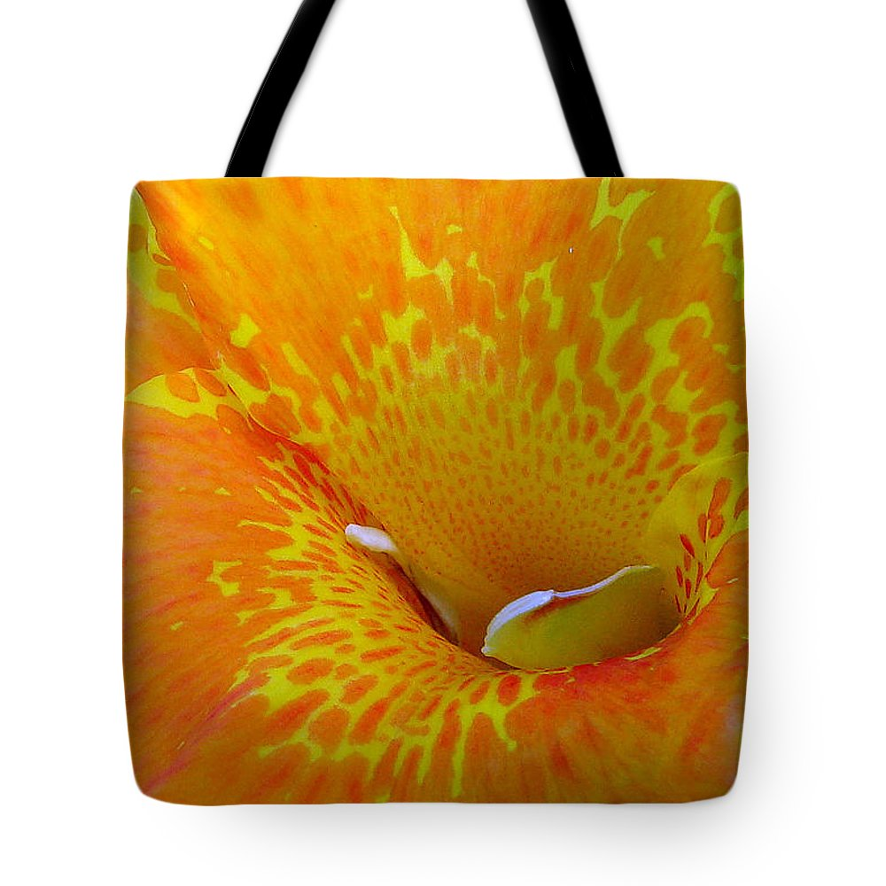 Orange Yellow Flower Tote Bag featuring the photograph Canna by Luciana Seymour
