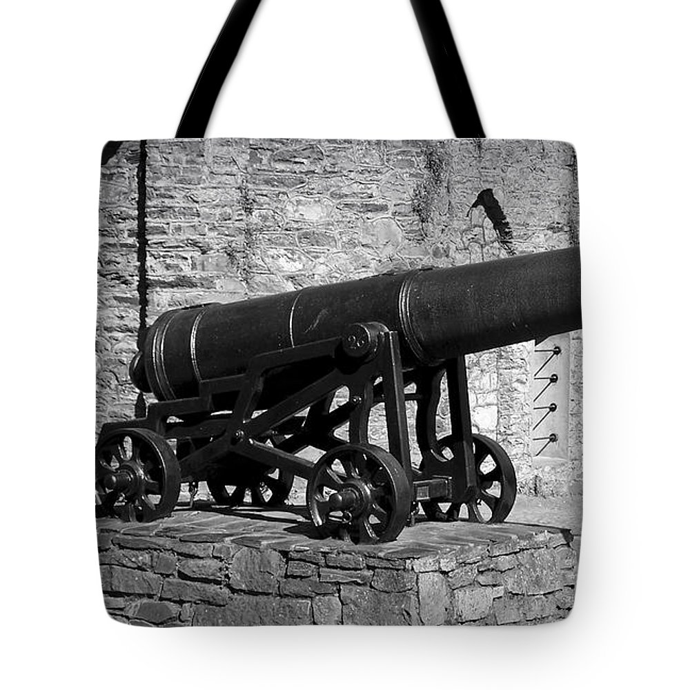 Irish Tote Bag featuring the photograph Cannon At Macroom Castle Ireland by Teresa Mucha