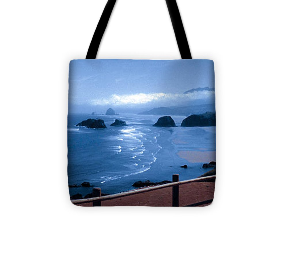 Cannon Beach Tote Bag featuring the photograph Blue Waters On Cannon Beach by Joanne Rungaitis