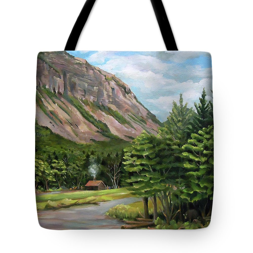 Cannon Mountain Tote Bag featuring the painting Cannon Cliff New Hampshire by Nancy Griswold