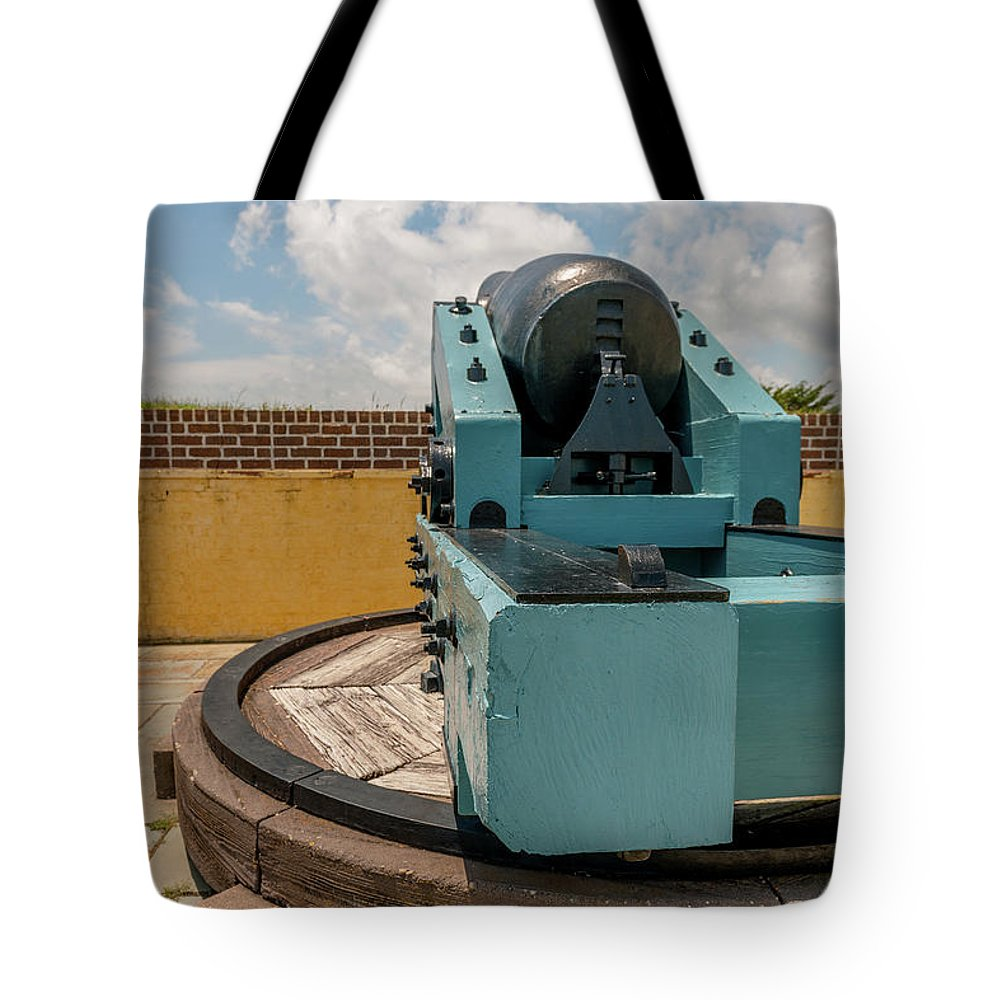 Cannon Tote Bag featuring the photograph Cannon Track System by Dale Powell