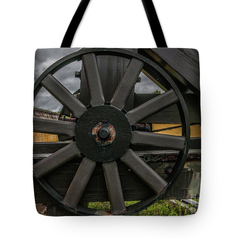 Cannon Tote Bag featuring the photograph Cannon Wheel by Dale Powell