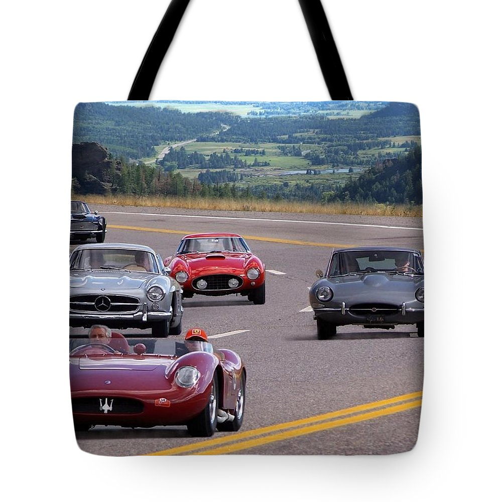 Cars Tote Bag featuring the photograph Cannonball Rally by Bill Stephens