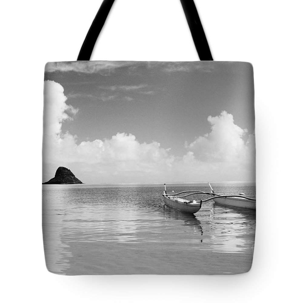 Aku Tote Bag featuring the photograph Canoe Landscape - Bw by Joss - Printscapes