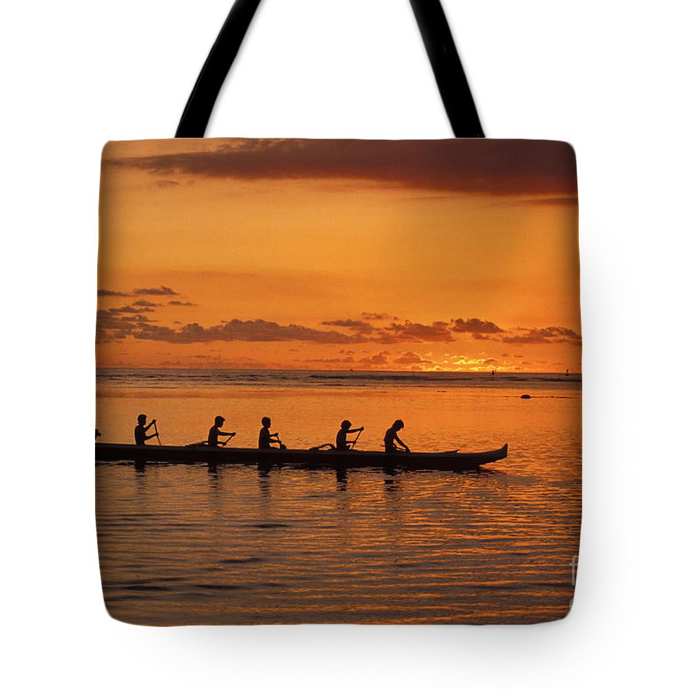 Adrenaline Tote Bag featuring the photograph Canoe Paddlers Silhouette by Joe Carini - Printscapes