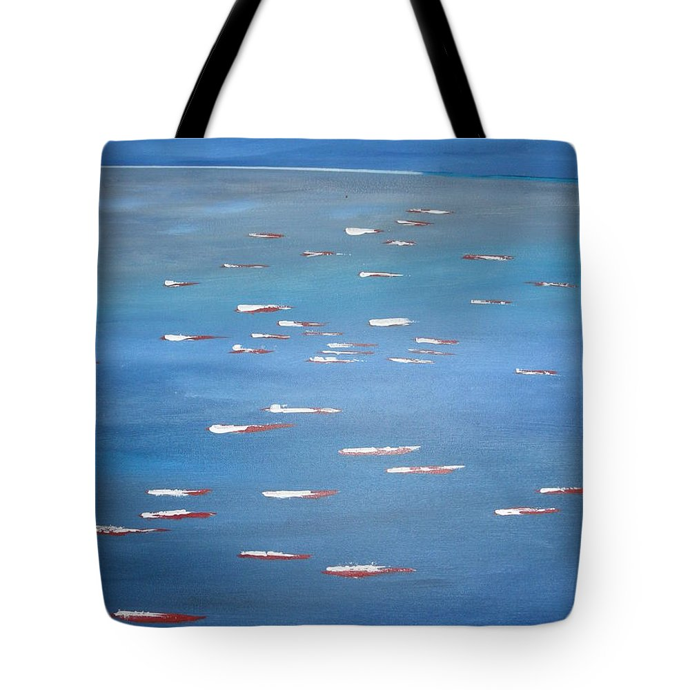 Abstract Tote Bag featuring the painting Canoe Race In Huahine by Solenn Carriou