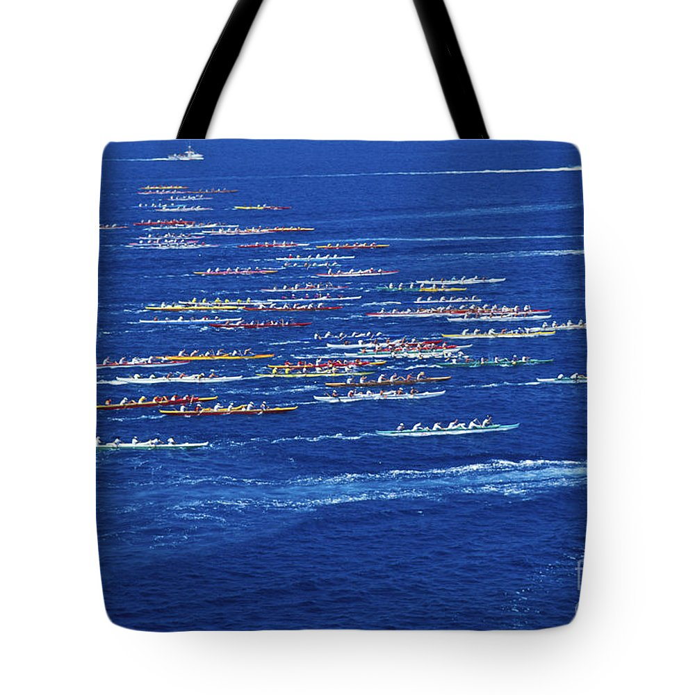 Above Tote Bag featuring the photograph Canoe Race by Peter French - Printscapes
