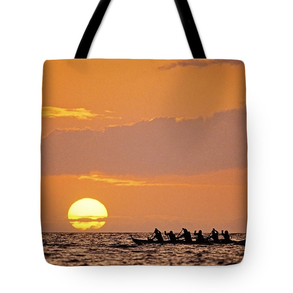 Anaehoomalu Tote Bag featuring the photograph Canoeing At Sunset by Greg Vaughn - Printscapes