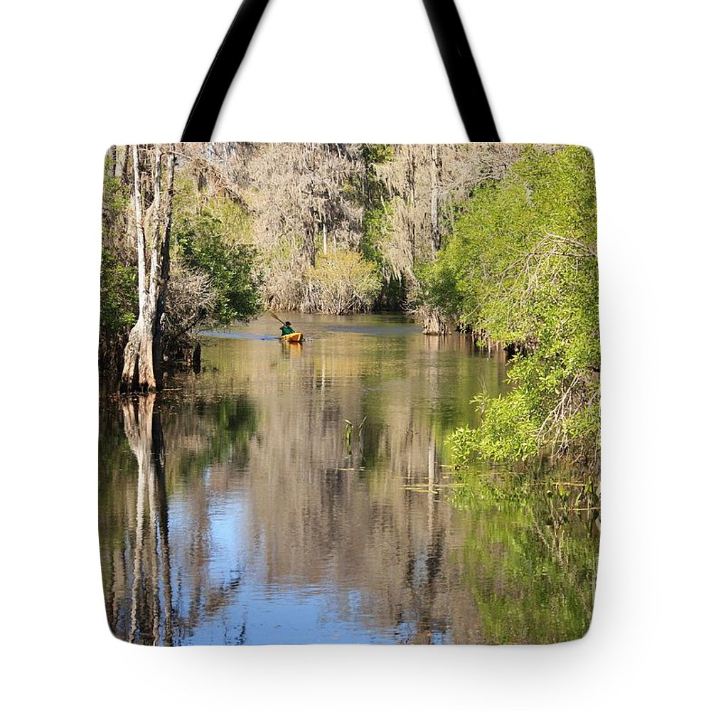 Hillsborough River Tote Bag featuring the photograph Canoing On Hillsborough River by Carol Groenen