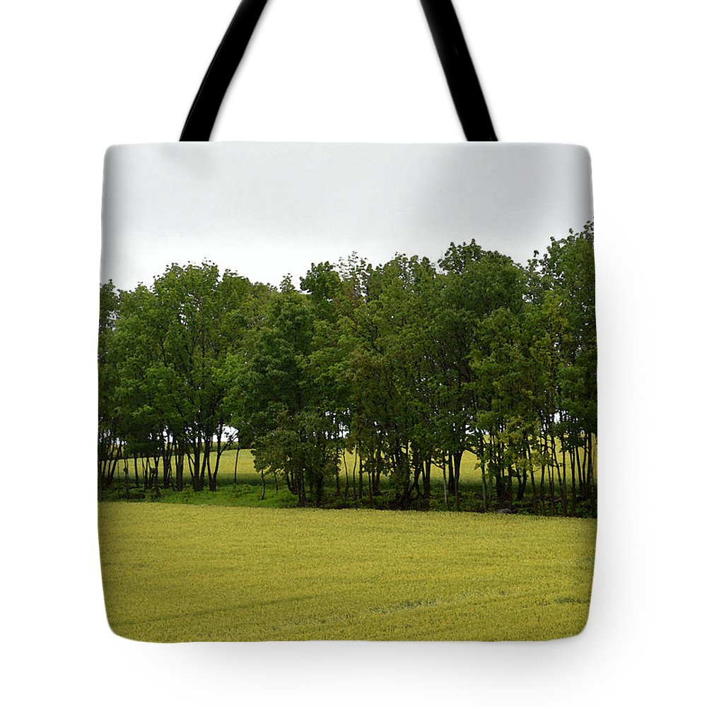 Abstract Tote Bag featuring the photograph Canola Around The Trees by Lyle Crump