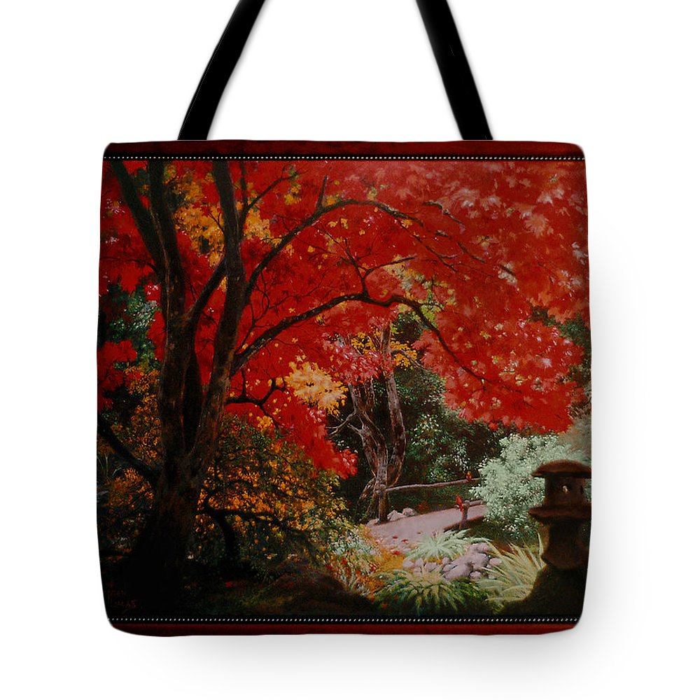 Oriental Tote Bag featuring the painting Canopy Of Red by Stephen Lucas