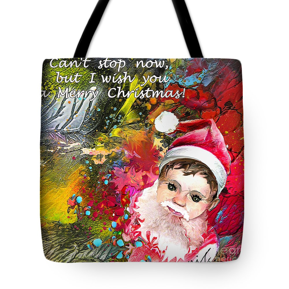 Santa Baby Painting Tote Bag featuring the painting Cant Stop Now by Miki De Goodaboom